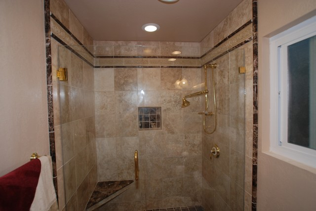 Travertine and Marble Shower with French Gold Kohler Fixtures - Bathroom - Orange County - by ...