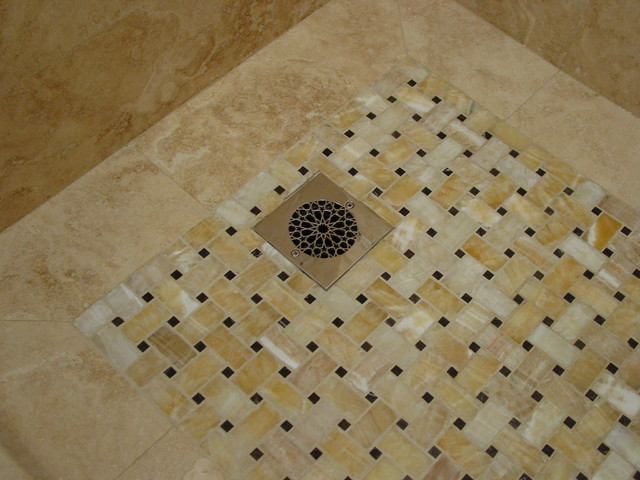Travertine and Onyx Bath asian bathroom