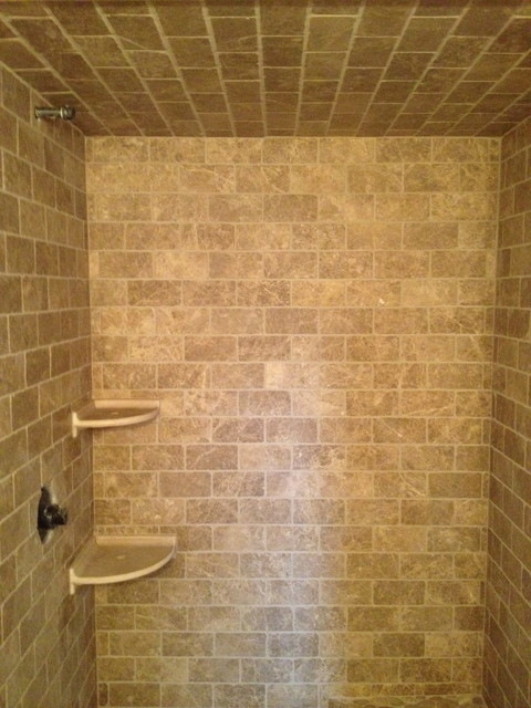 Travertine Pebble Bathroom Modern Bathroom Boston By Fowler Tile Design