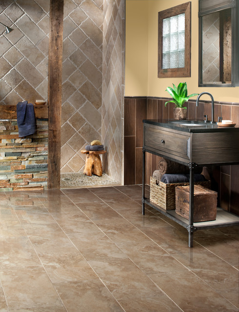 Travertine And Slate Bathroom Rustic Bathroom