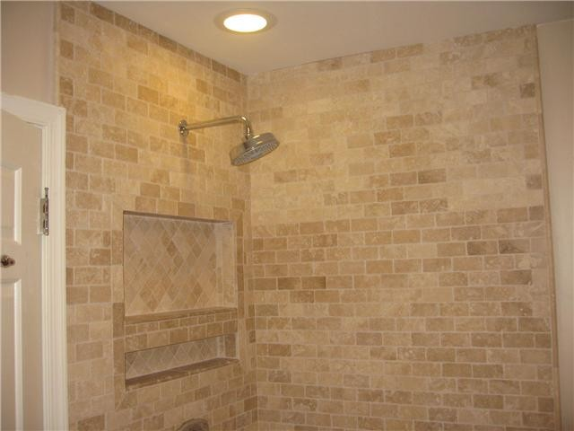 Travertine bath tile modern bathroom. Travertine bath tile