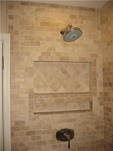 Travertine bath tile modern-bathroom