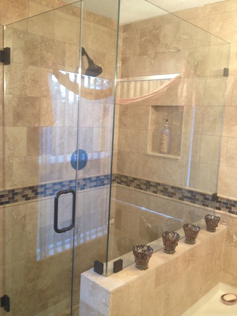 Travertine Bathroom Remodel Traditional Bathroom Tampa By MHS Commerc