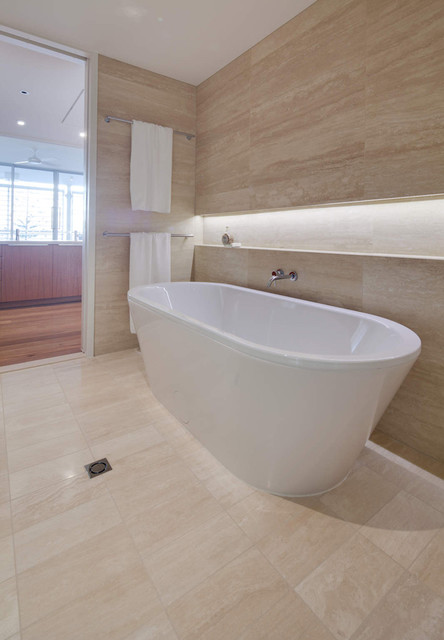 Travertine Light Vein Cut Modern Bathroom Perth By