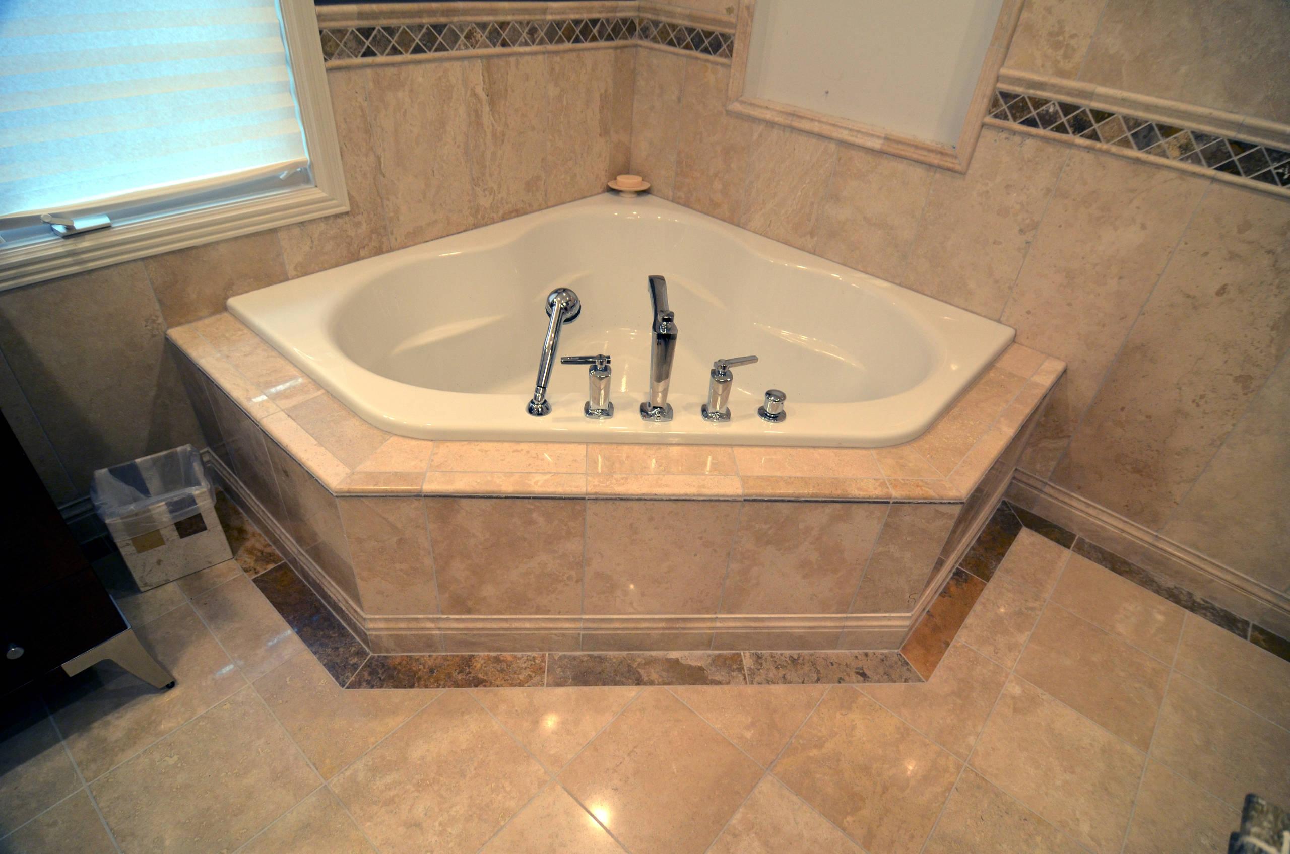 Travertine Master Bathroom