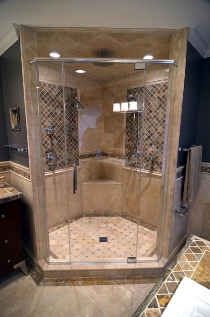 Travertine Master Bathroom Mediterranean Bathroom