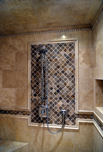 Travertine Master Bathroom Mediterranean Bathroom