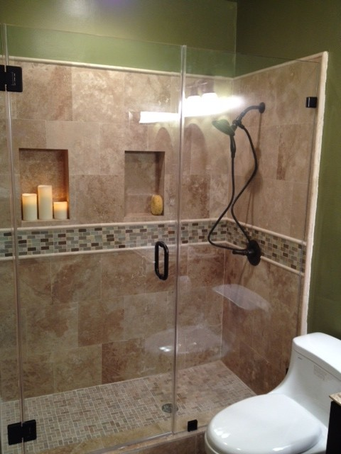 Travertine Shower 2 Traditional Bathroom Los Angeles