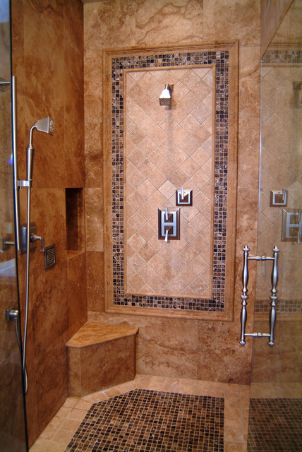 Travertine shower traditional bathroom seattle by all tile for Travertine tile bathroom ideas