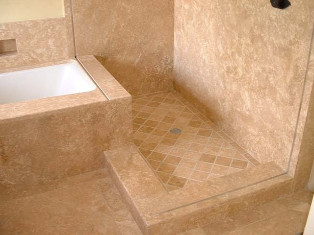 travertine shower floor and bathtub deck
