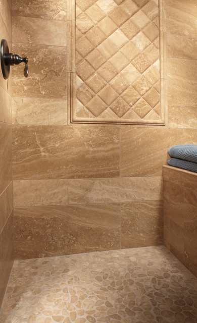 Captivating Travertine Shower Traditional Bathroom
