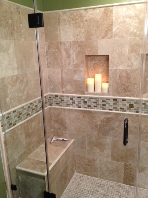 Travertine shower traditional bathroom los angeles for Travertine tile in bathroom ideas