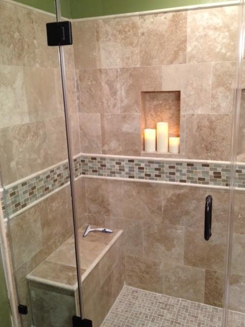 Travertine Shower Traditional Bathroom Los Angeles By Homeco Kitchen Bath Houzz Uk