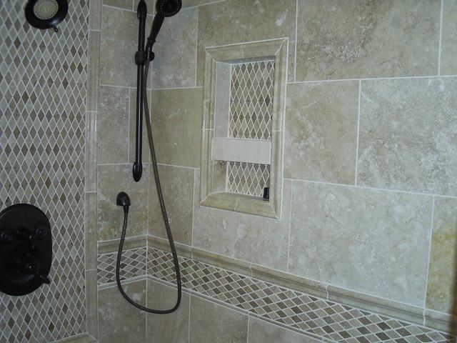Travertine shower modern bathroom detroit by maloney tile