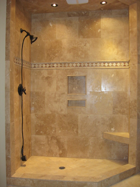 Travertine shower for Travertine tile bathroom gallery