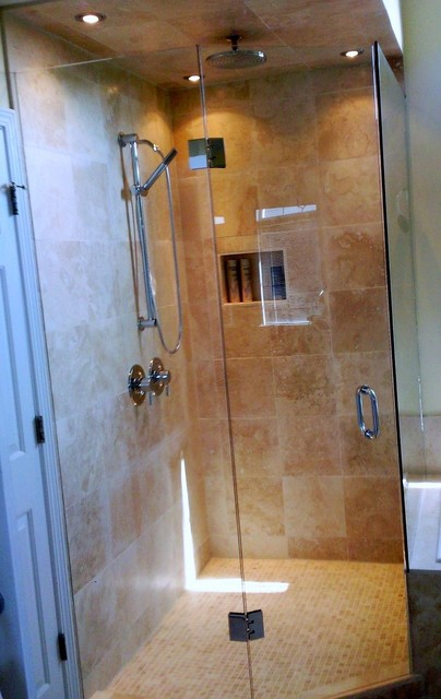Travertine Tile And Frameless Glass Enclosure Traditional Bathroom Atlanta By Change