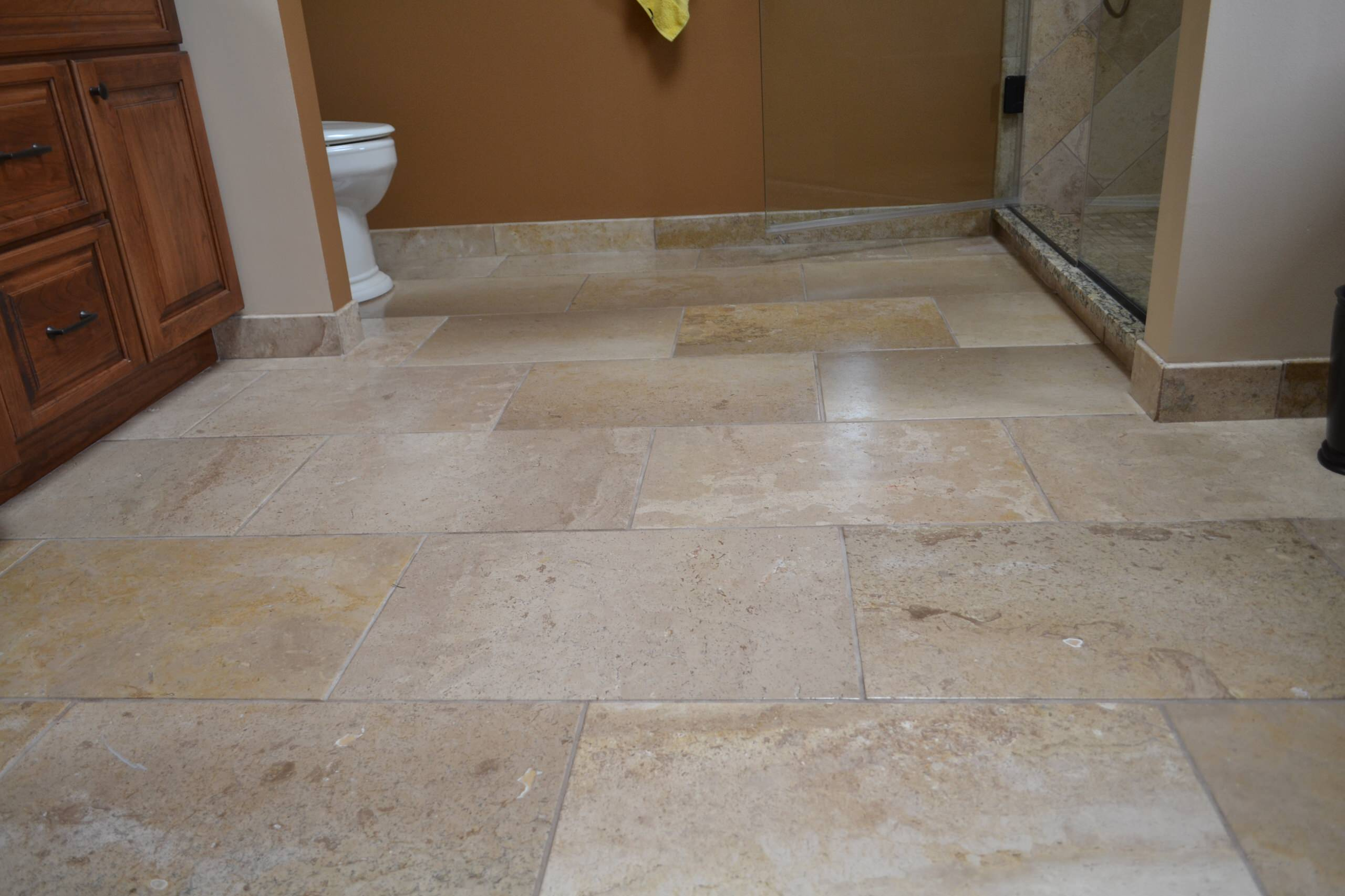 Travertine tile baseboard