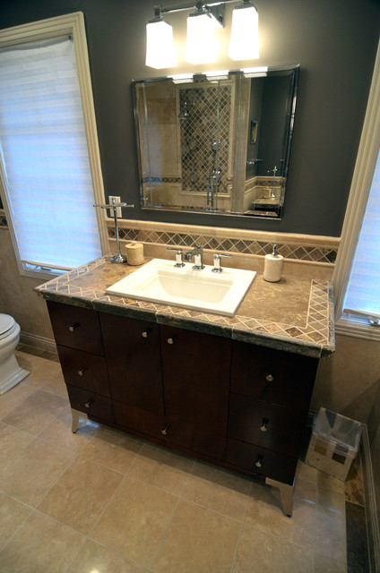 Travertine Tile Counter Top Mediterranean Bathroom