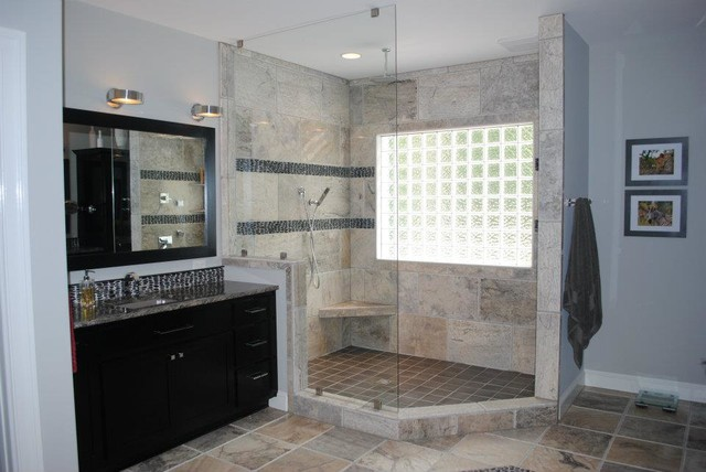 Travertine tile with river rock accents rain can shower head for Travertine accent tile