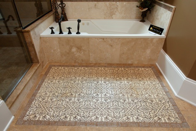 Travertine With Mandala Arabesque And Sonoma Luxe Rug