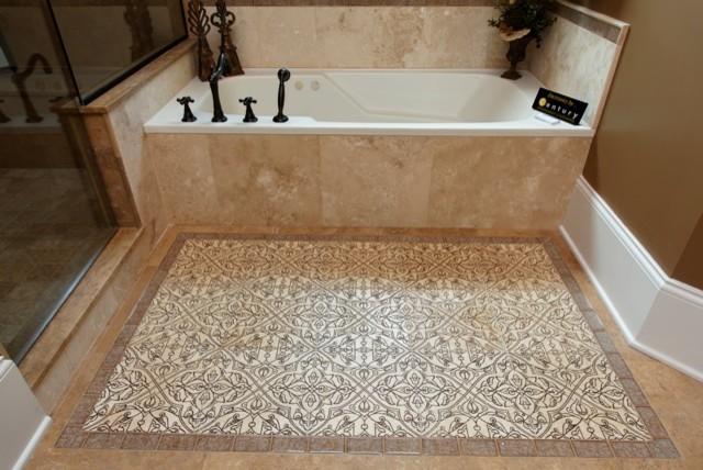 Travertine Floor Inlays : Travertine with mandala arabesque and sonoma luxe rug