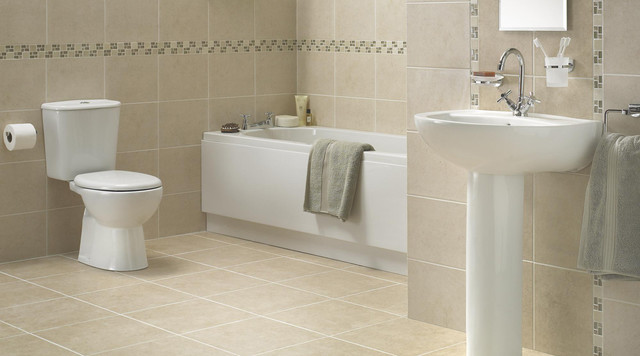 B And Q Bathroom Tile Ideas : Treviso bathroom suite contemporary other
