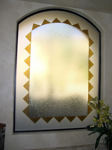 TRIANGLE BORDER Bathroom Windows - Frosted Glass Designs Privacy Glass mediterranean-bathroom