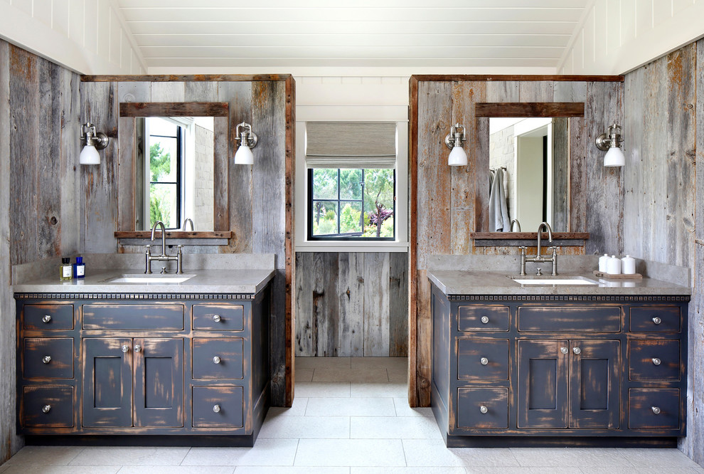 Inspiration for a rustic bathroom remodel in San Francisco with an undermount sink and distressed cabinets