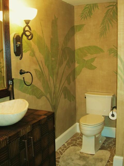 Tropical Bath Mural - Tropical - Bathroom - other metro - by Rose Window Studio