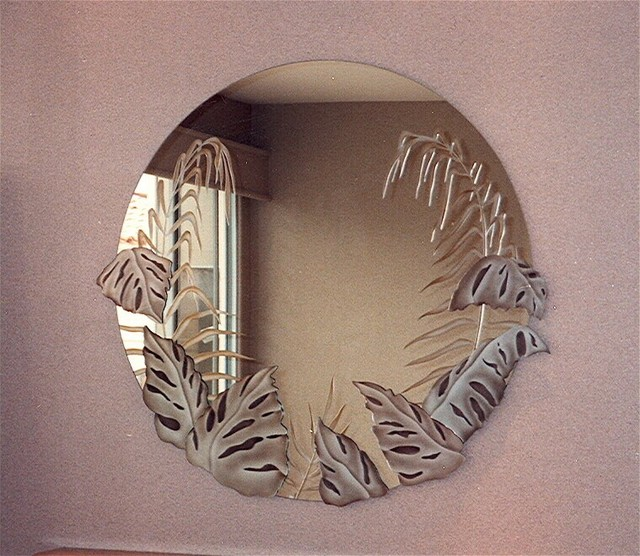 Tropical Peak Decorative Mirror With Etched Carved Design Bathroom Other Metro By Sans