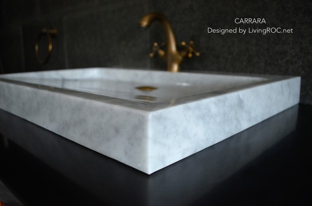 marble vessel bathroom sinks trough sink carrara white marble 27 inch vessel sink for 19410