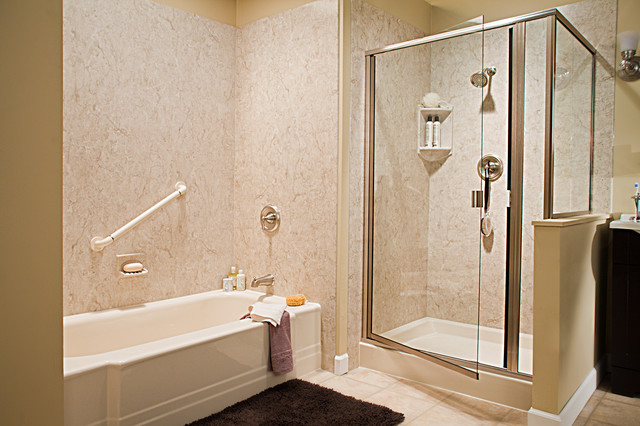 Tub Shower Combo Roman Stone Walls