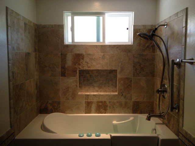Tub surround contemporary bathroom san diego by b3 construction - Tile shower surround ideas ...