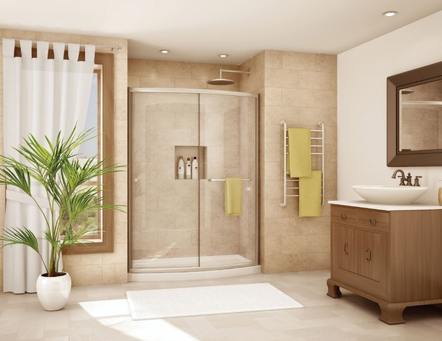 Inspiration For A Mid Sized Contemporary Master Ceramic Tile Tub/shower  Combo Remodel In