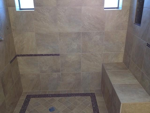 tub to shower conversion contemporary bathroom