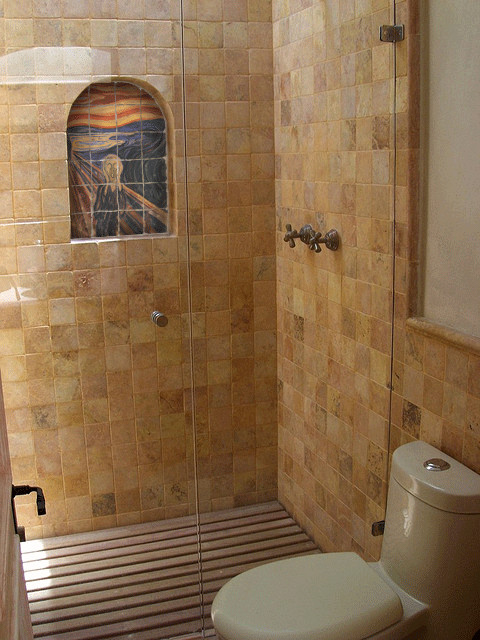 Tumbled marble tile mural in shower rustic bathroom for Cabin shower tile ideas