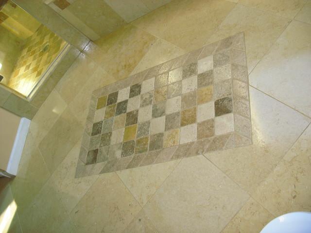 Bon Tumbled Travertine Area Rug Mediterranean Bathroom. Tumbled Travertine Area  Rug Mediterranean Bathroom New York