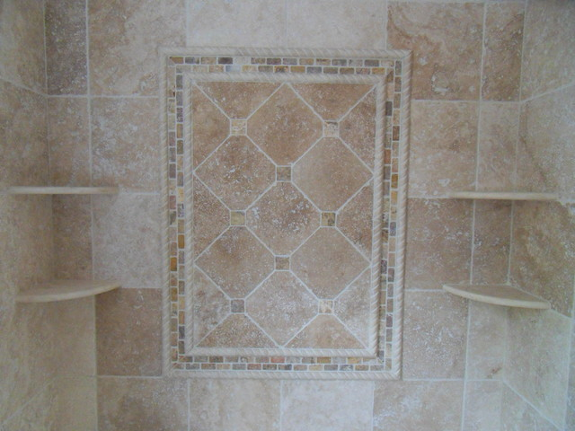 Tumbled travertine bathroom traditional bathroom for Travertine tile bathroom gallery