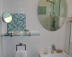 Turquoise and white bathroom remodel modern-bathroom