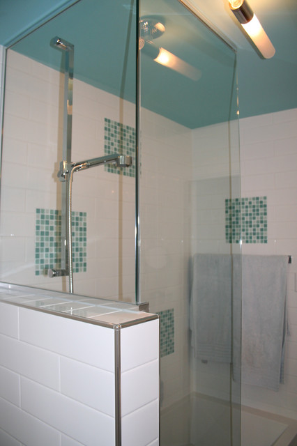 Turquoise And White Bathroom Remodel Modern