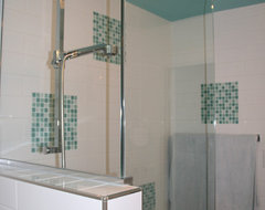 Turquoise and white bathroom remodel modern bathroom