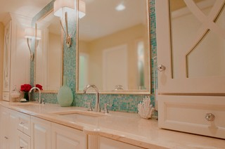 Turquoise Glass Tile Spa Bath Traditional Bathroom