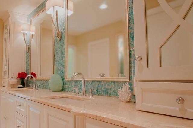 Turquoise Glass Tile Spa Bath Traditional Bathroom
