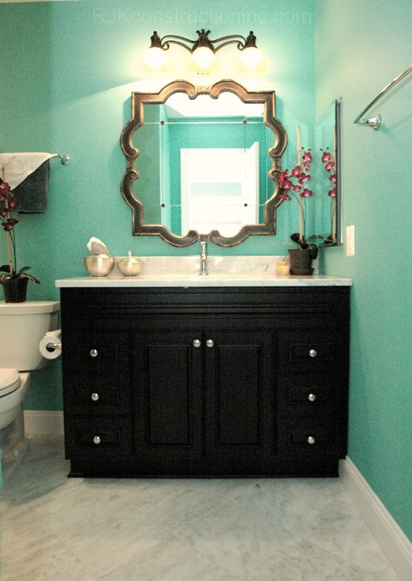Turquoise Guest Bathroom - Eclectic - Bathroom - DC Metro - by RJK on pink green turquoise bathroom, black and coral bathroom, rustic turquoise bathroom, black diamond bathroom, black grey bathroom, black red bathroom, black toile bathroom, black peach bathroom, black chalk paint bathroom, black yellow bathroom, houzz turquoise bathroom, accent and turquoise bathroom, mermaid turquoise bathroom,