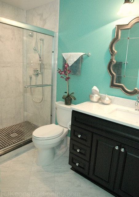 Turquoise guest bathroom eclectic bathroom other for Turquoise bathroom decor