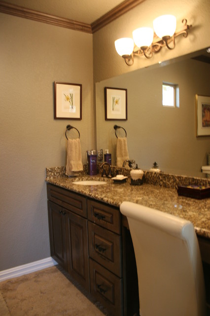 Tuscan green cabinets with brown glaze eclectic-bathroom