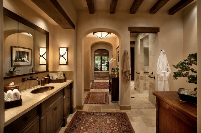 Inspiration For A Mid Sized Mediterranean Master Beige Tile And Limestone Floor Alcove