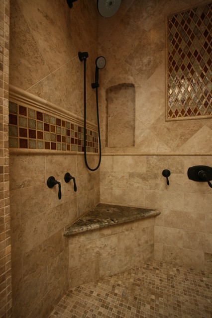 tuscan master bath traditional bathroom - Tuscan Bathroom Design