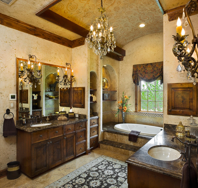 tuscan style master bath mediterranean bathroom - Tuscan Bathroom Design