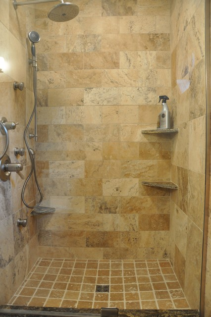 Tuscan Wave Stone Shower Eclectic Bathroom Indianapolis by